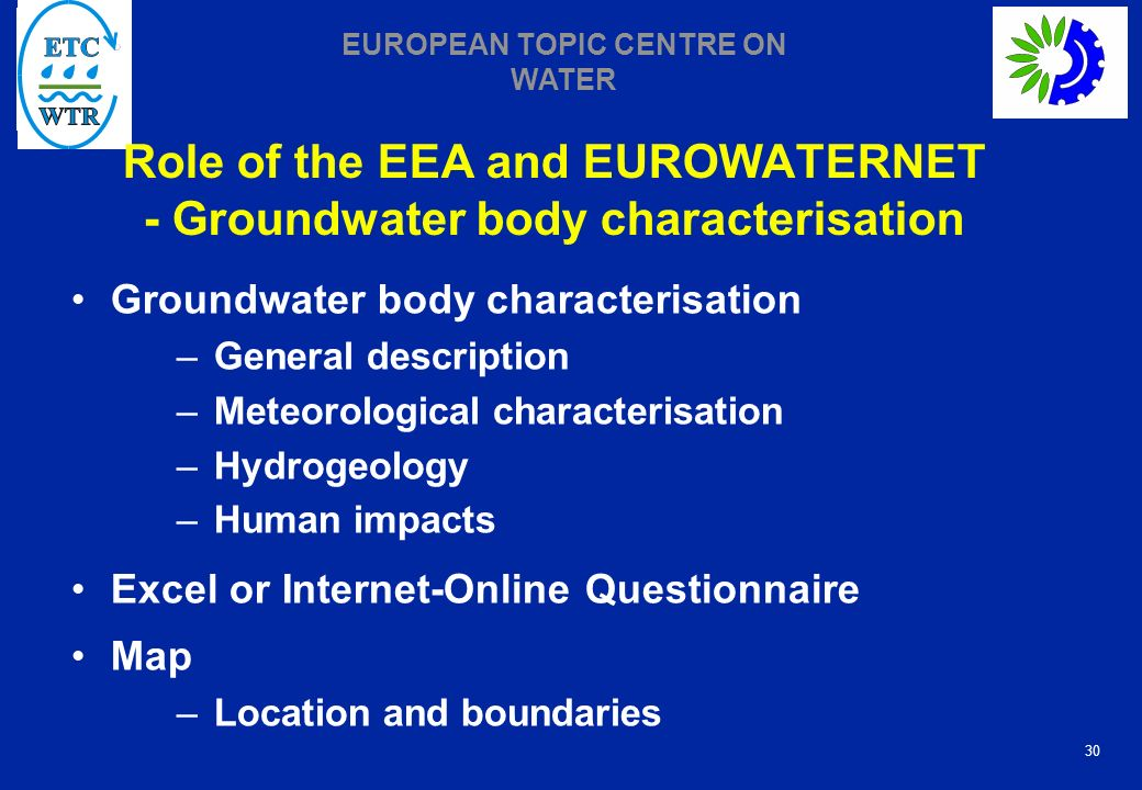 Role of the EEA and EUROWATERNET - Groundwater body characterisation