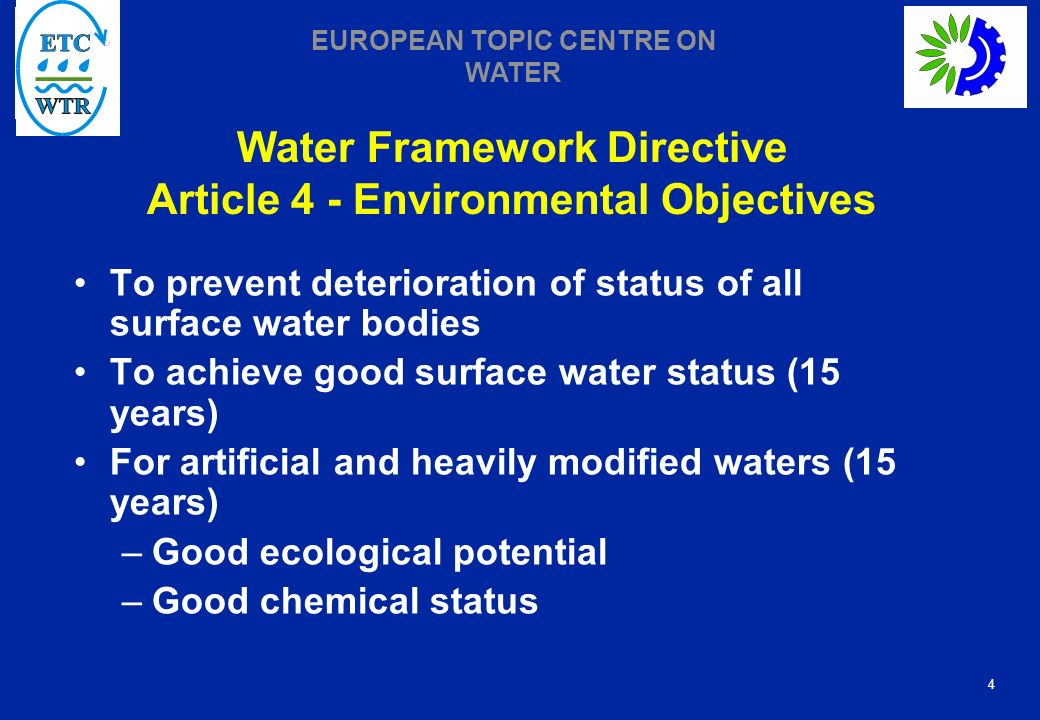 Water Framework Directive Article 4 - Environmental Objectives