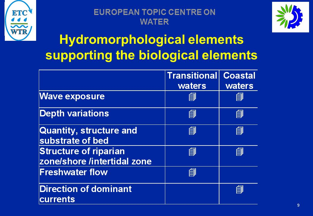 Hydromorphological elements supporting the biological elements