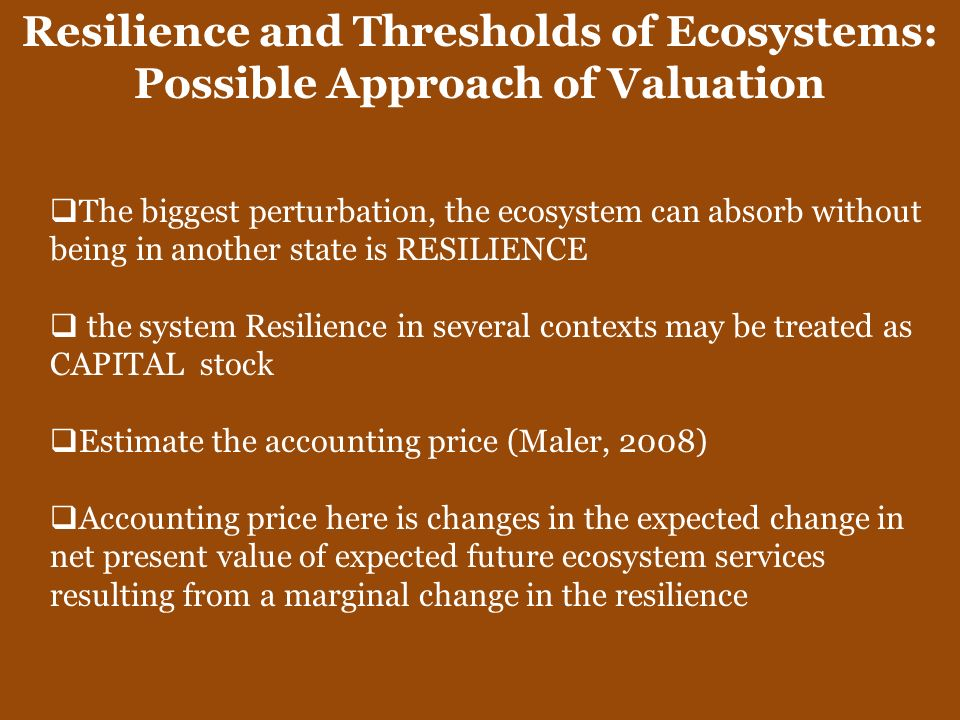 Resilience and Thresholds of Ecosystems: Possible Approach of Valuation