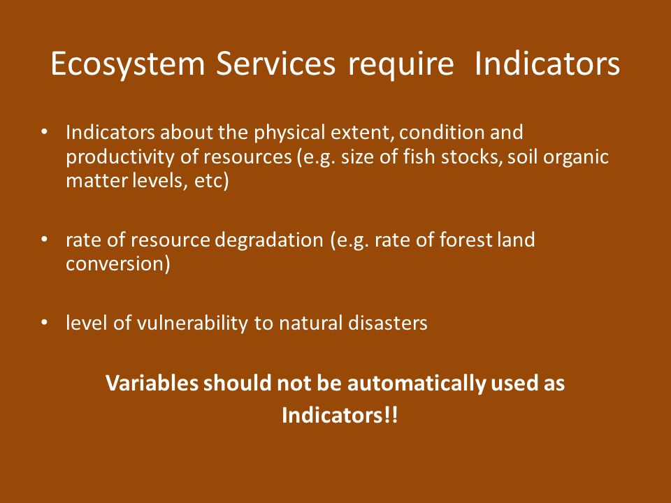 Ecosystem Services require Indicators