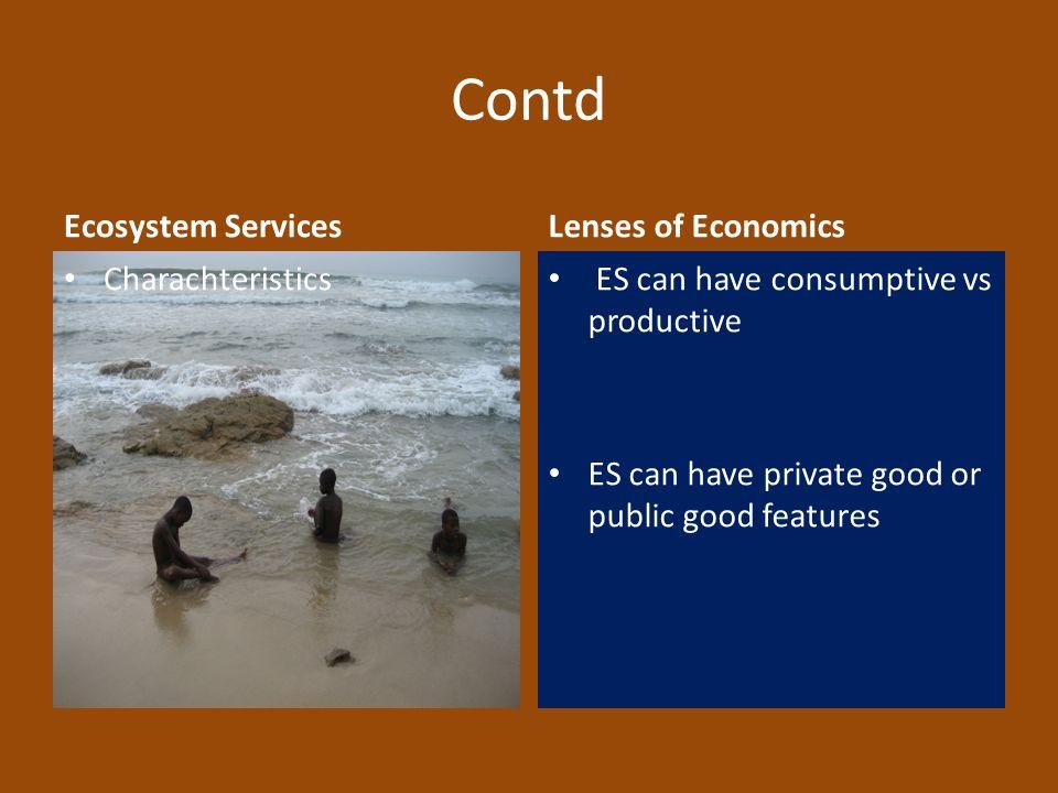 Contd Ecosystem Services Lenses of Economics Charachteristics