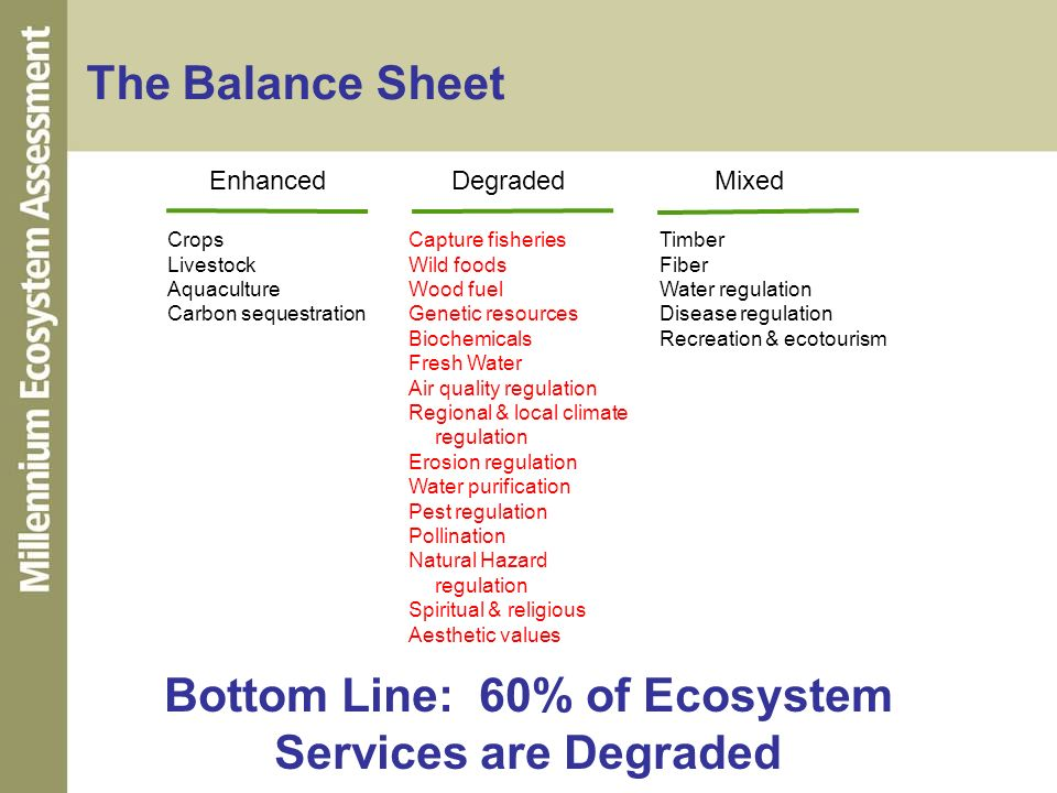Bottom Line: 60% of Ecosystem Services are Degraded