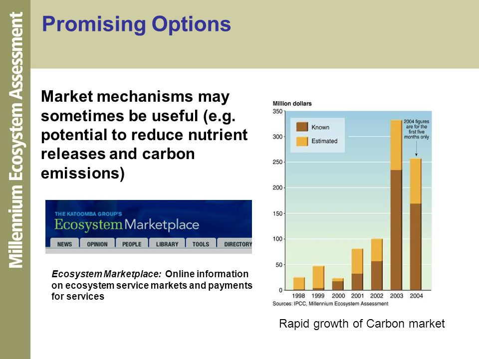 Promising Options Market mechanisms may sometimes be useful (e.g. potential to reduce nutrient releases and carbon emissions)