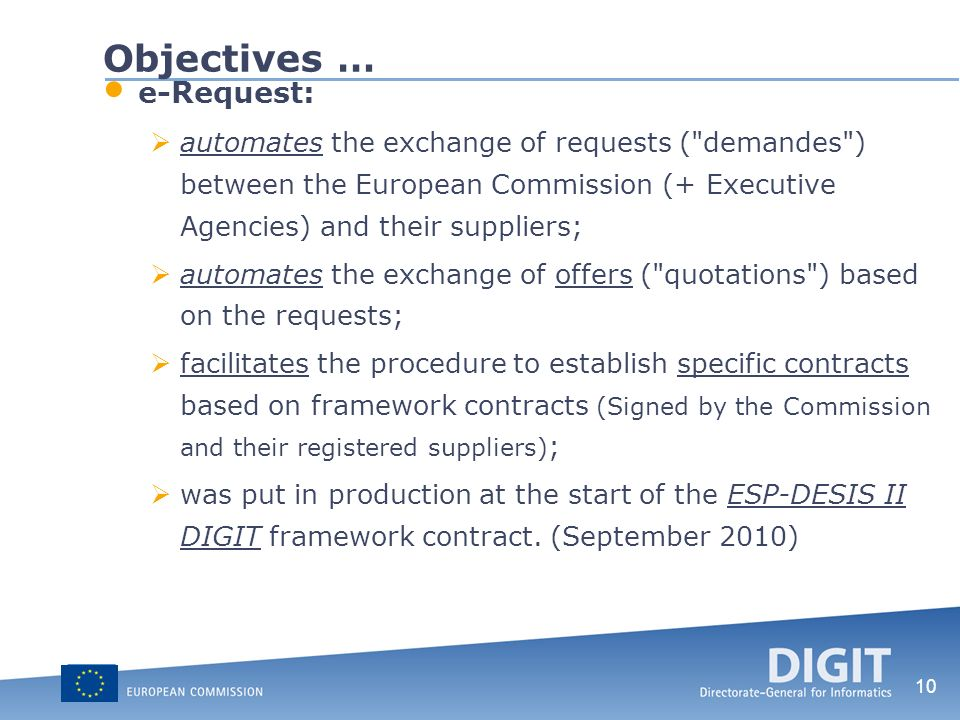 Objectives … e-Request: