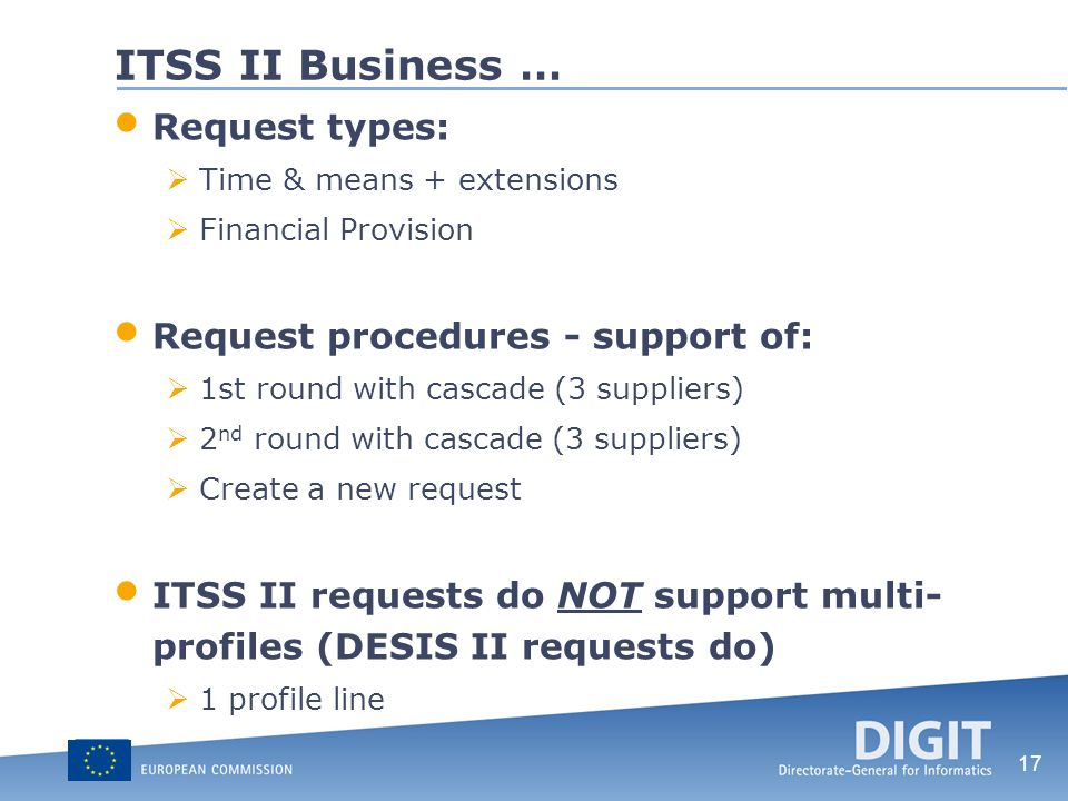 ITSS II Business … Request types: Request procedures - support of: