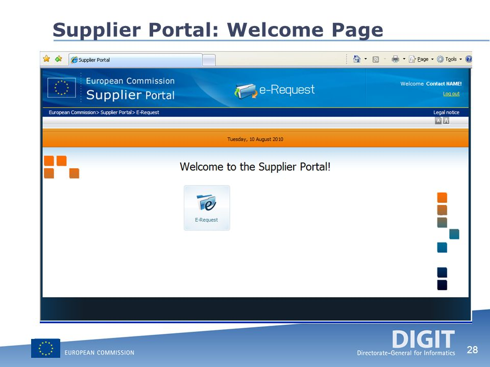 Supplier Portal: Welcome Page