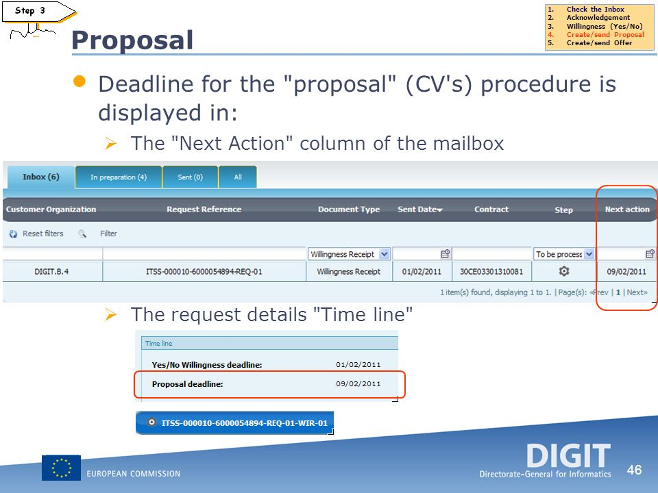 Proposal Deadline for the proposal (CV s) procedure is displayed in: