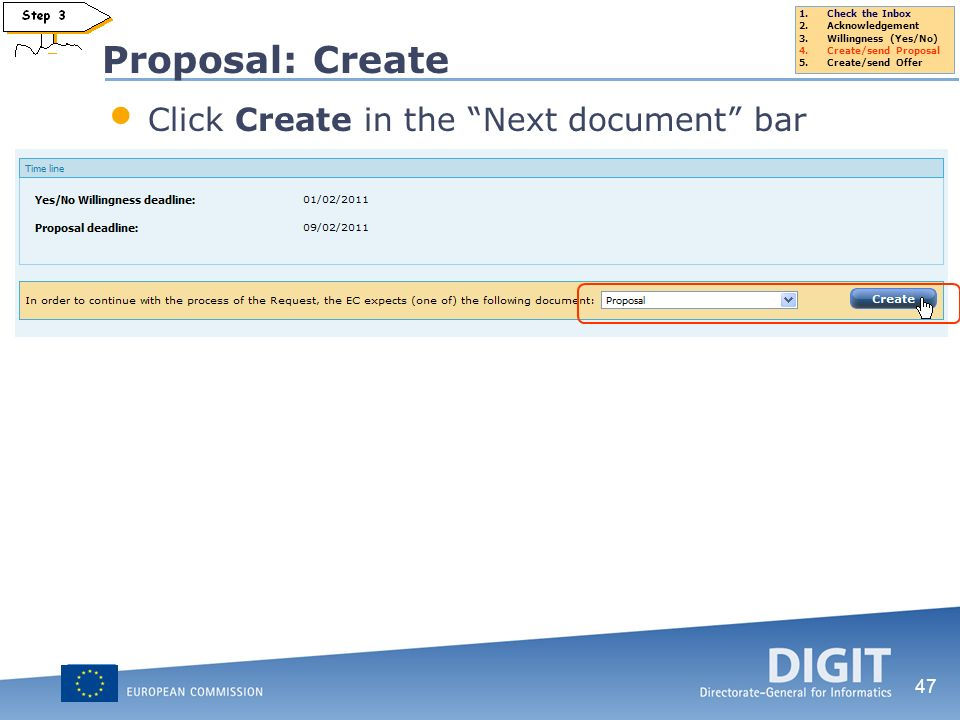 Proposal: Create Click Create in the Next document bar