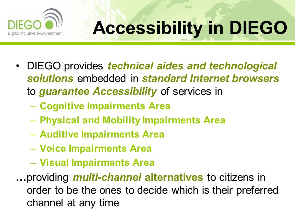 Accessibility in DIEGO