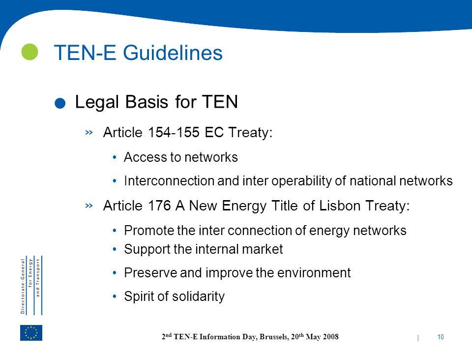 TEN-E Guidelines Legal Basis for TEN Article 154-155 EC Treaty: