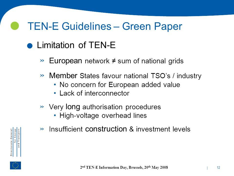 TEN-E Guidelines – Green Paper