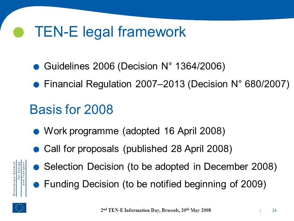 TEN-E legal framework Basis for 2008