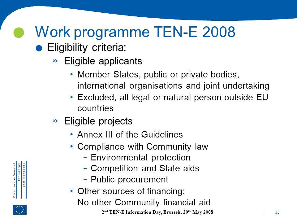 Work programme TEN-E 2008 Eligibility criteria: Eligible applicants