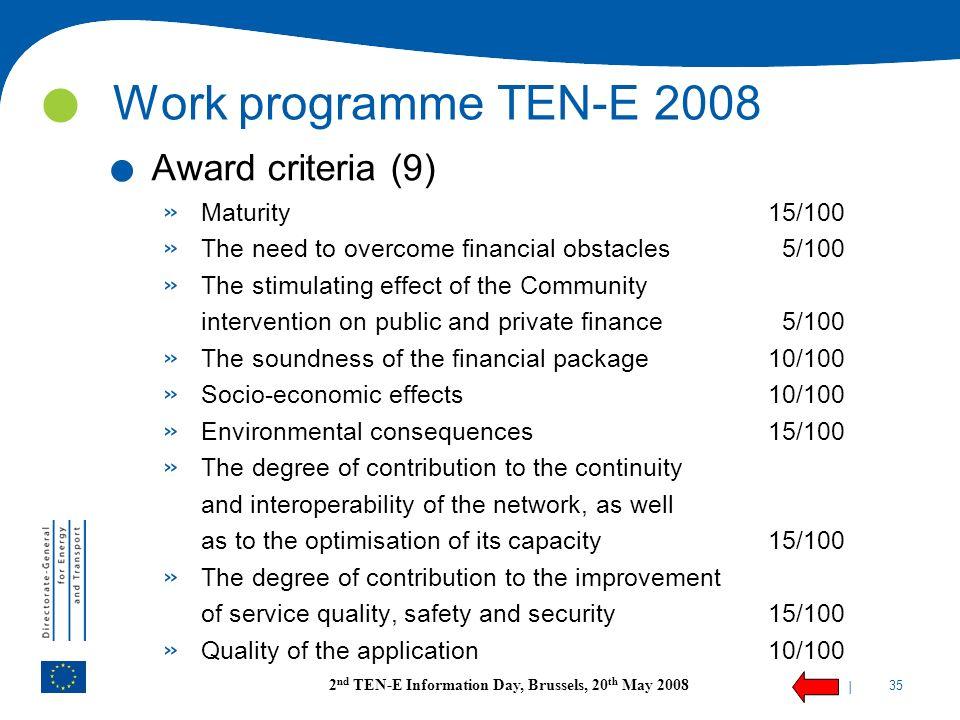 Work programme TEN-E 2008 Award criteria (9) Maturity 15/100