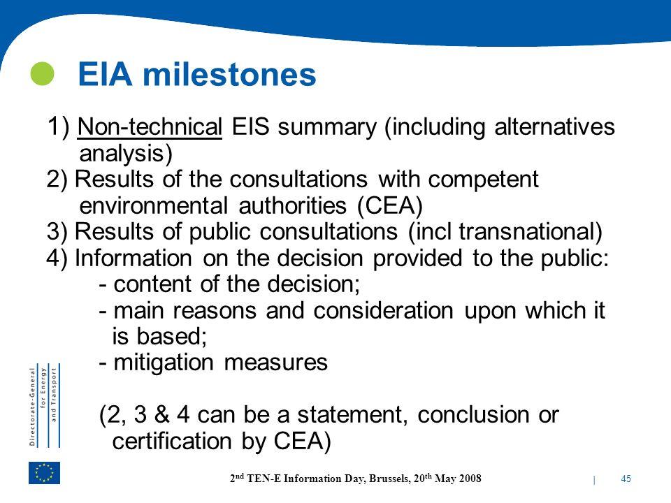 EIA milestones 1) Non-technical EIS summary (including alternatives analysis)