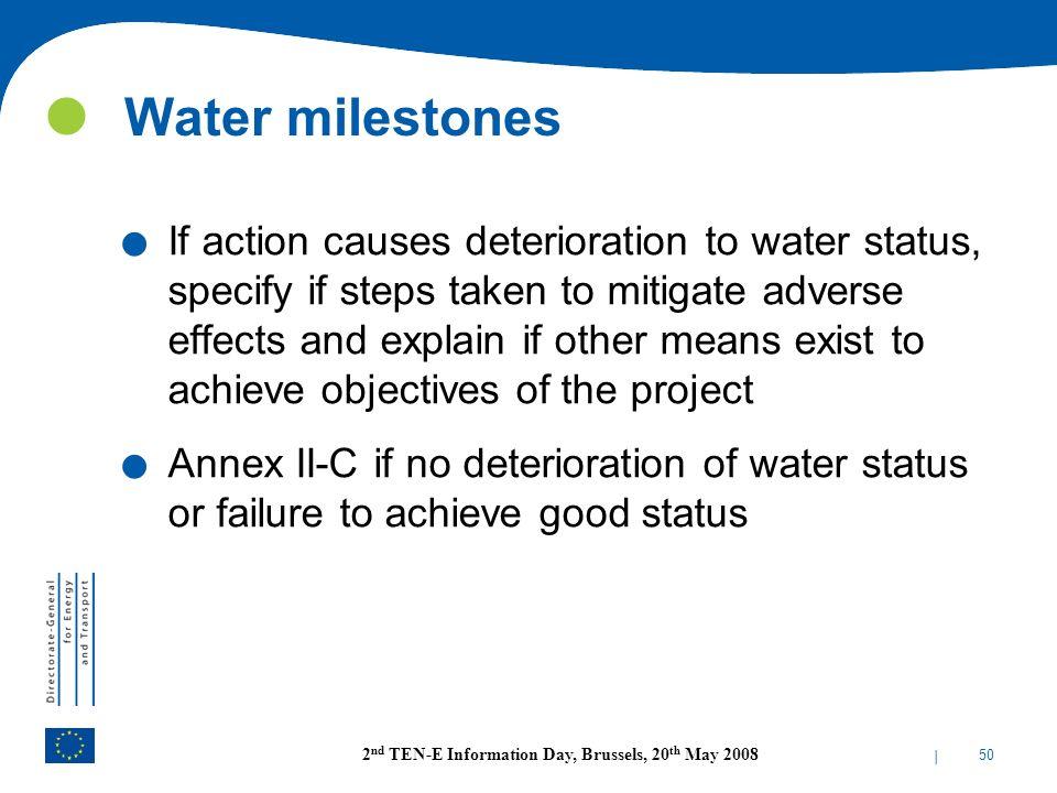 Water milestones