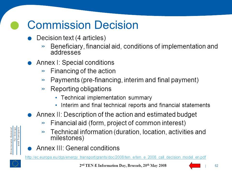 Commission Decision Decision text (4 articles)