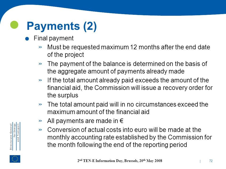 Payments (2) Final payment