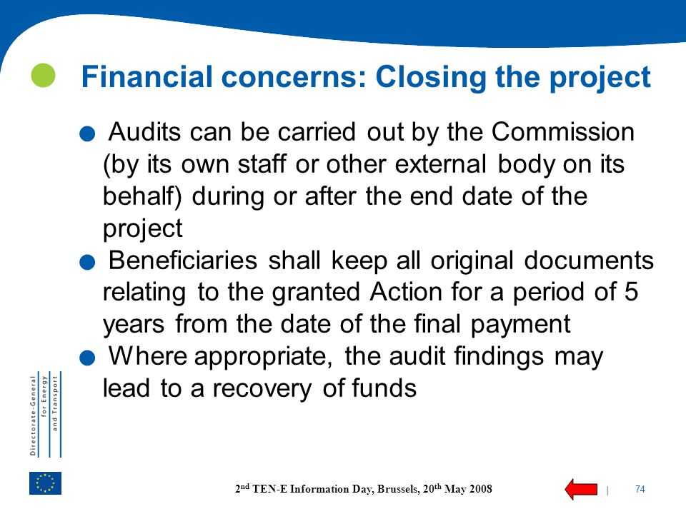 Financial concerns: Closing the project