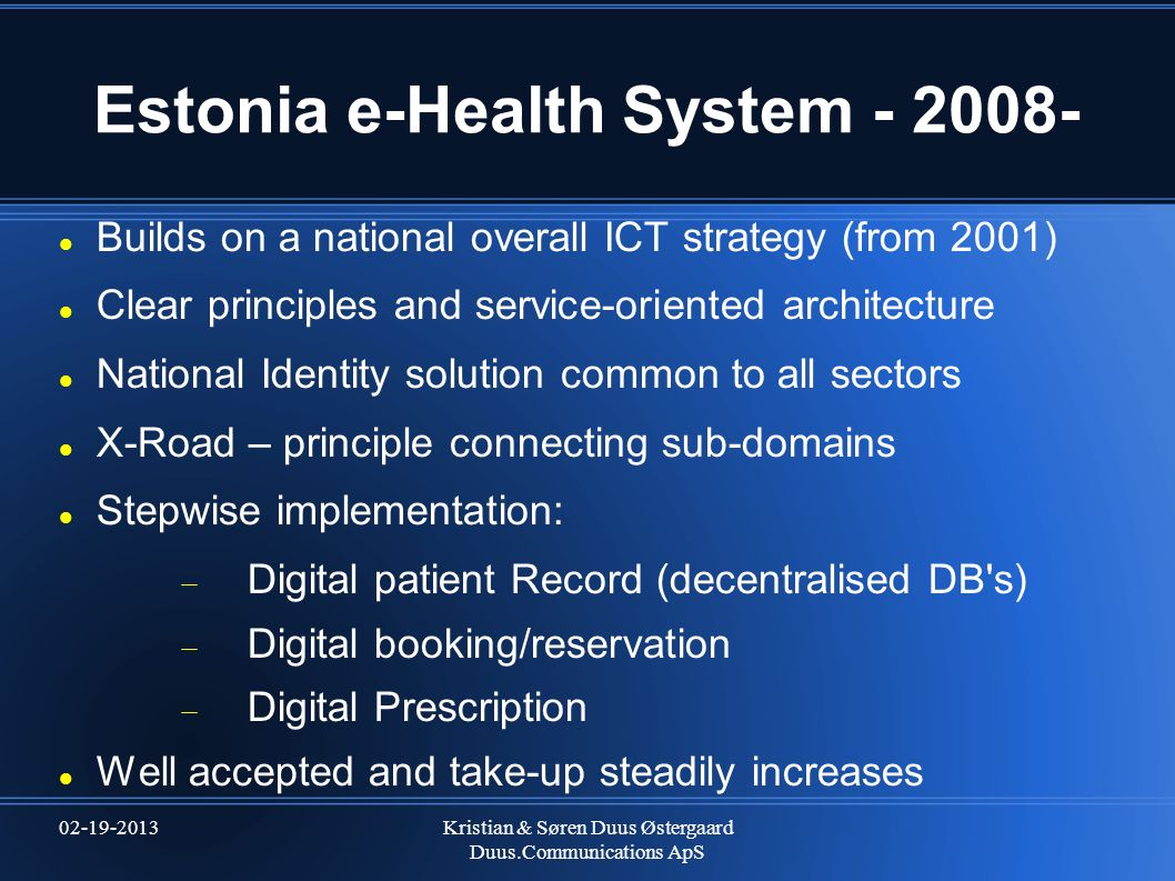 Estonia e-Health System - 2008-