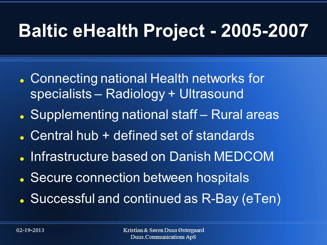 Baltic eHealth Project - 2005-2007