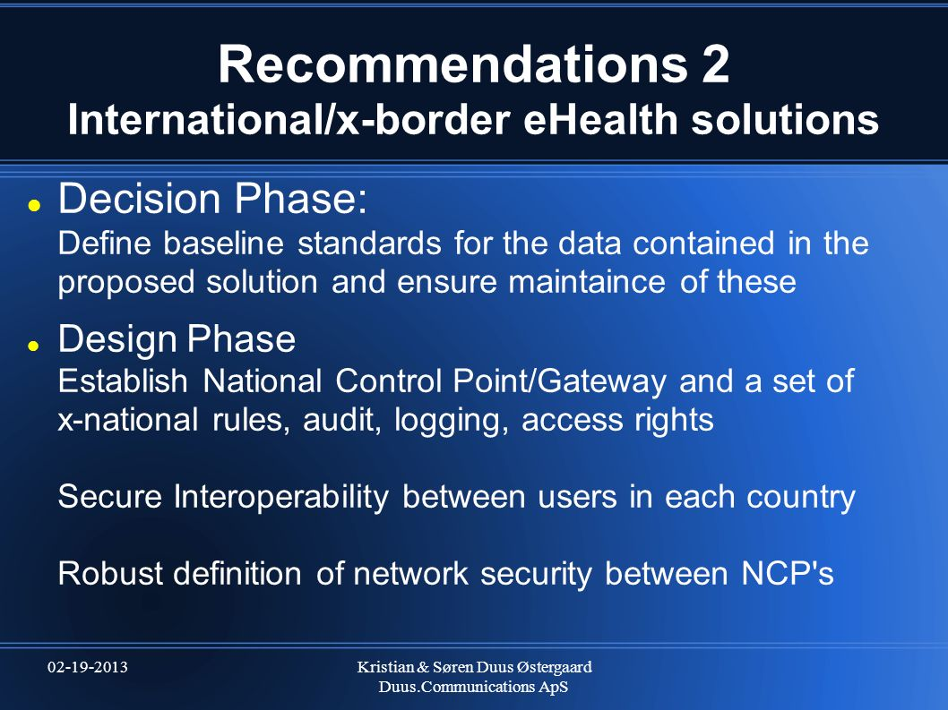 Recommendations 2 International/x-border eHealth solutions