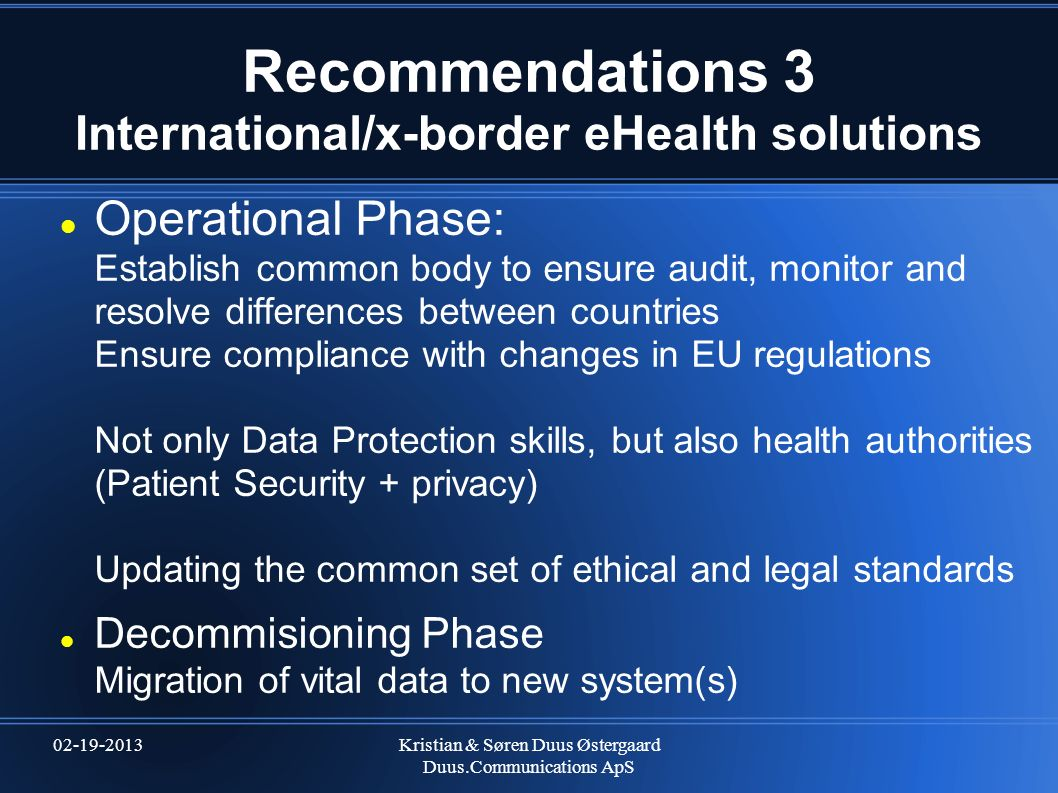 Recommendations 3 International/x-border eHealth solutions