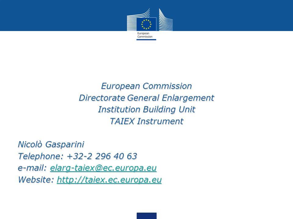 Directorate General Enlargement Institution Building Unit