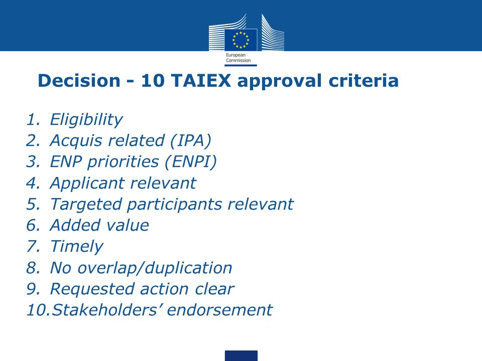 Decision - 10 TAIEX approval criteria