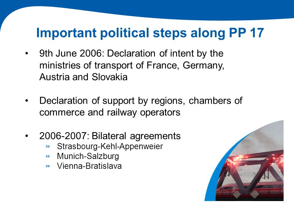 Important political steps along PP 17