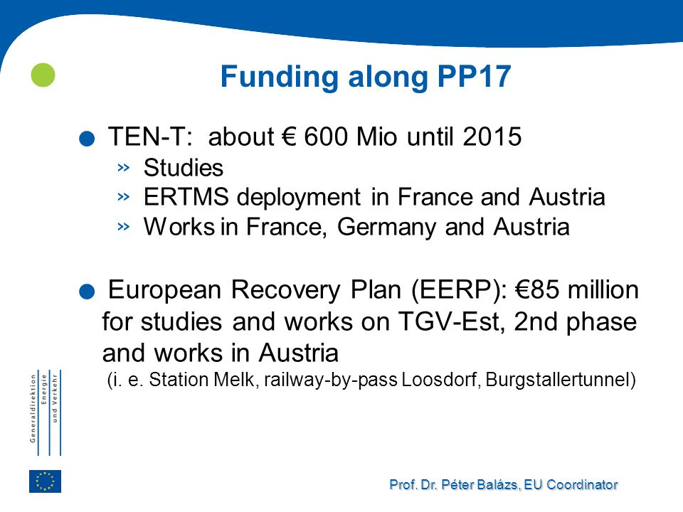 Funding along PP17 TEN-T: about € 600 Mio until 2015