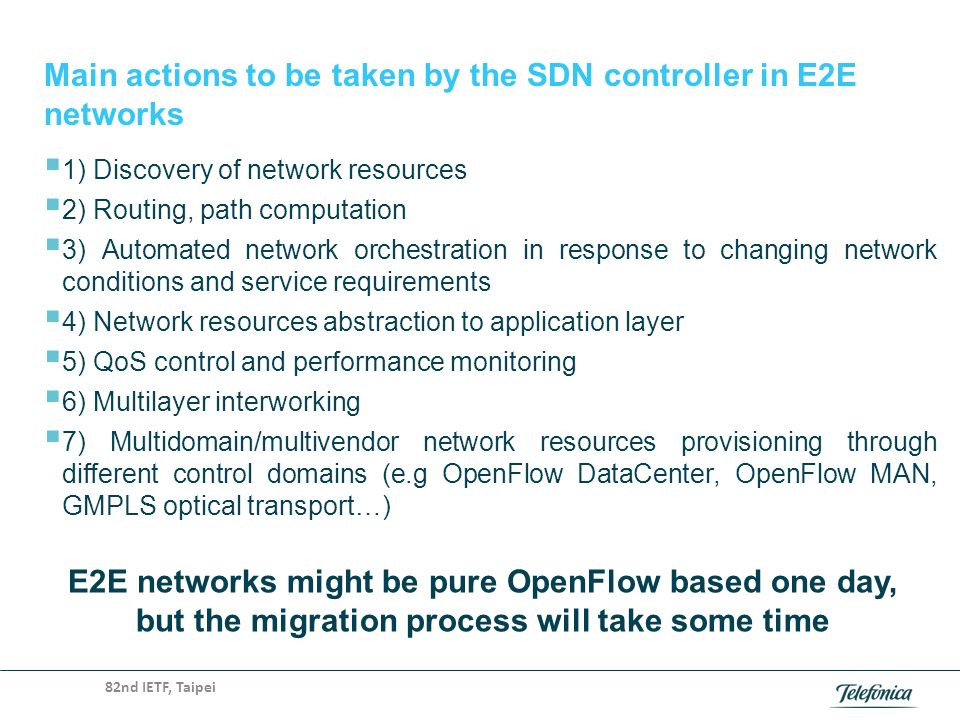 Main actions to be taken by the SDN controller in E2E networks