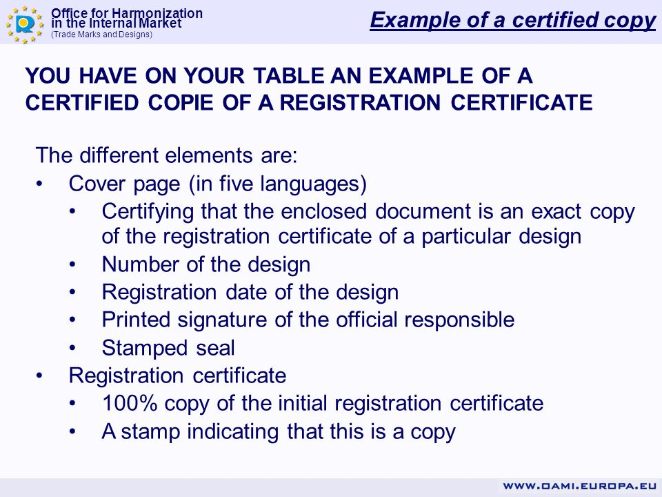 Example of a certified copy