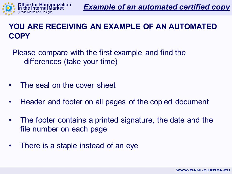 Example of an automated certified copy