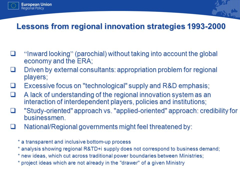Lessons from regional innovation strategies 1993-2000