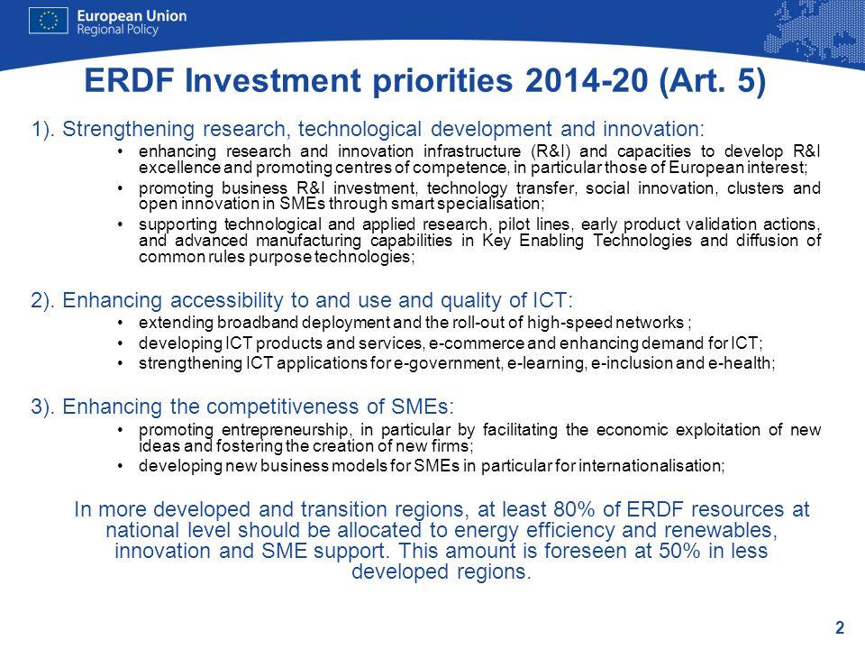 ERDF Investment priorities 2014-20 (Art. 5)