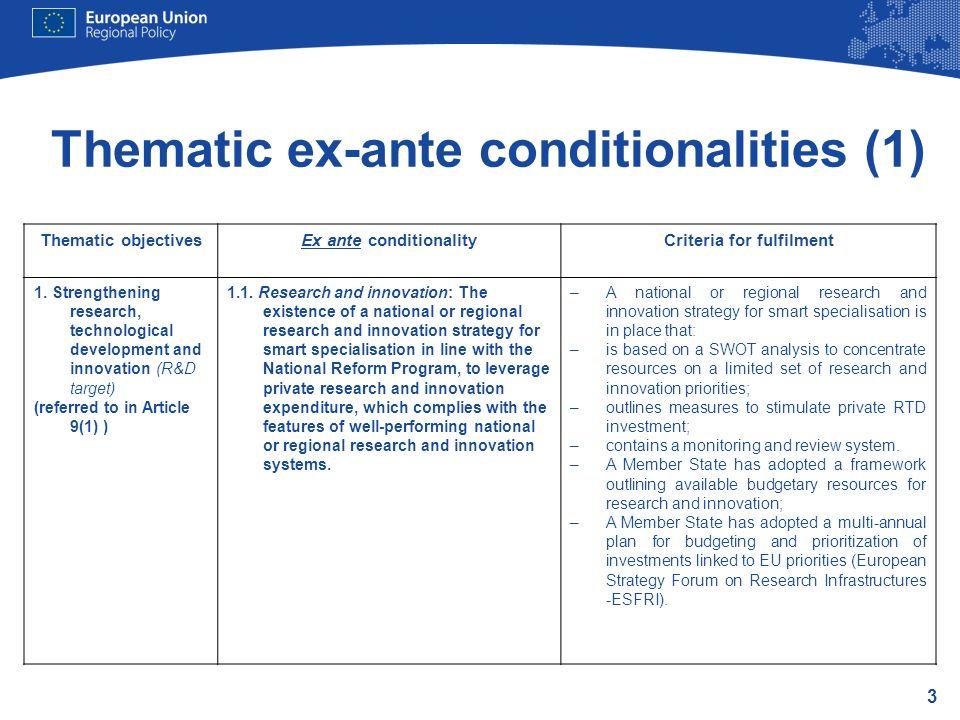 Thematic ex-ante conditionalities (1)
