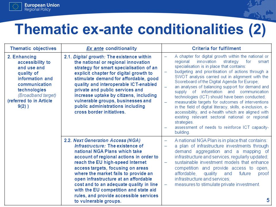 Thematic ex-ante conditionalities (2)