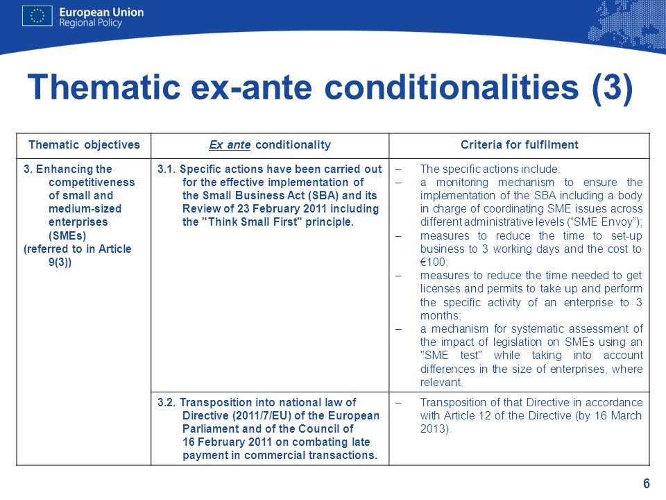 Thematic ex-ante conditionalities (3)