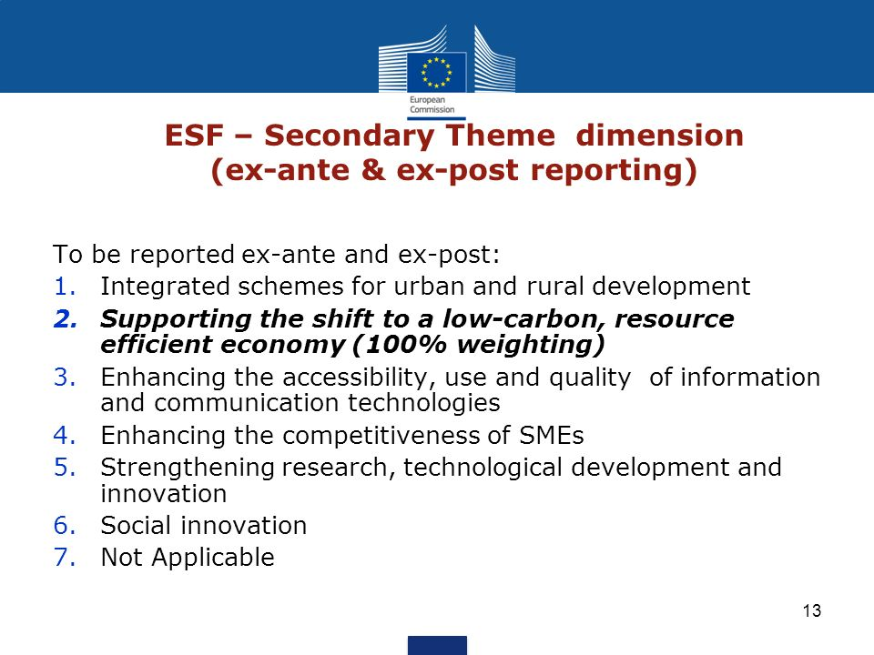 ESF – Secondary Theme dimension (ex-ante & ex-post reporting)