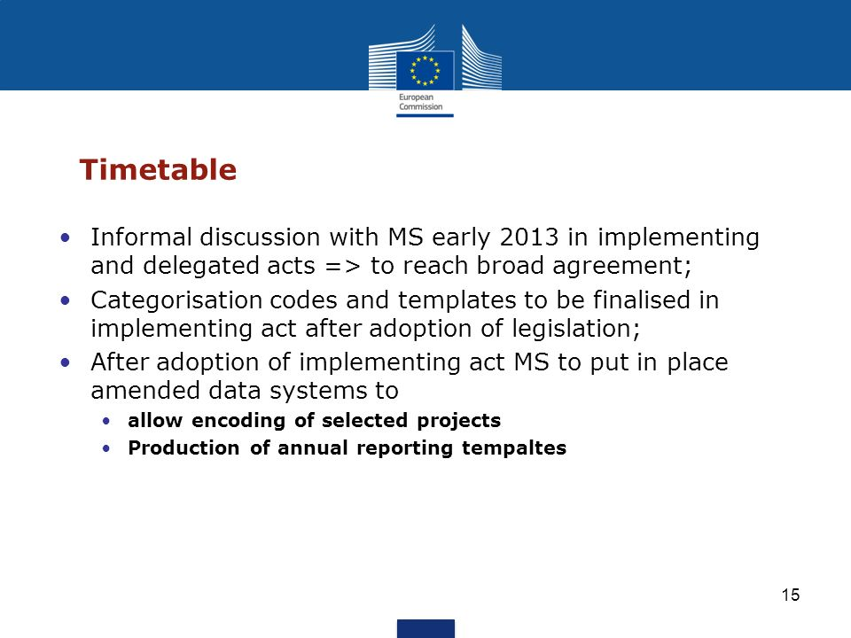 Timetable Informal discussion with MS early 2013 in implementing and delegated acts => to reach broad agreement;