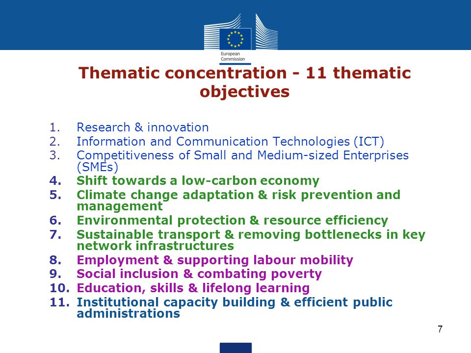 Thematic concentration - 11 thematic objectives