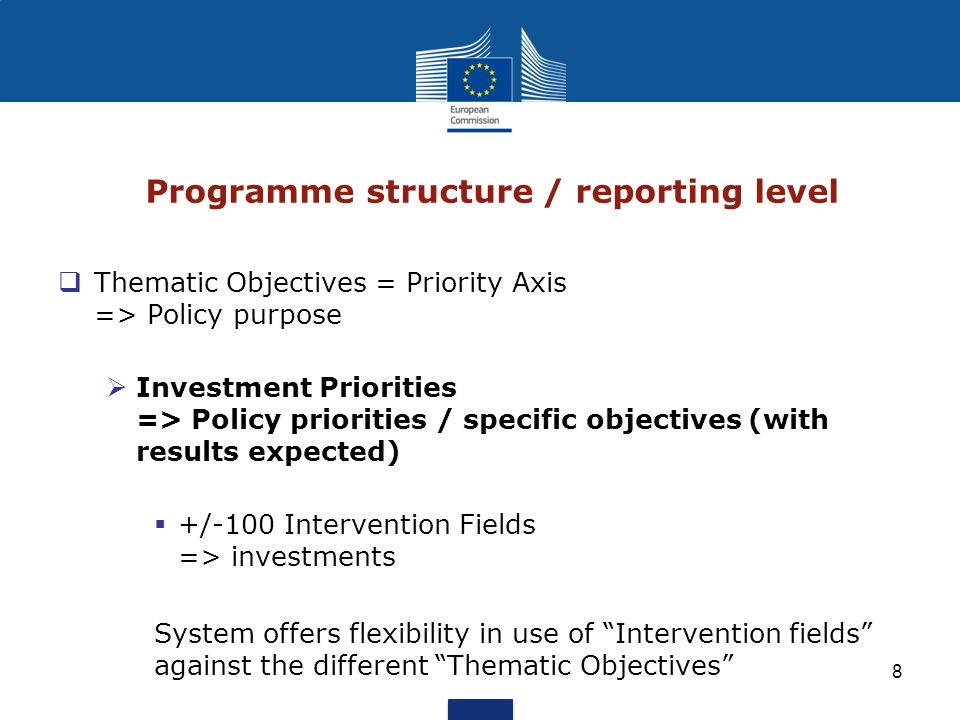 Programme structure / reporting level