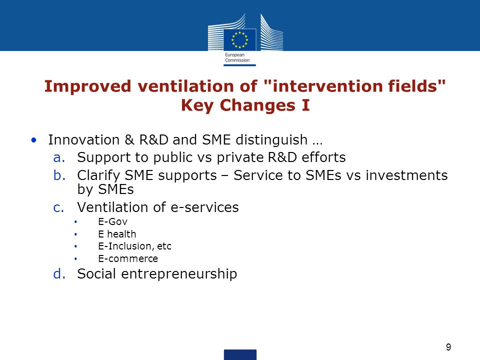 Improved ventilation of intervention fields Key Changes I