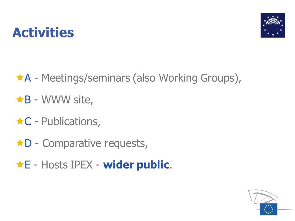 Activities A - Meetings/seminars (also Working Groups), B - WWW site,