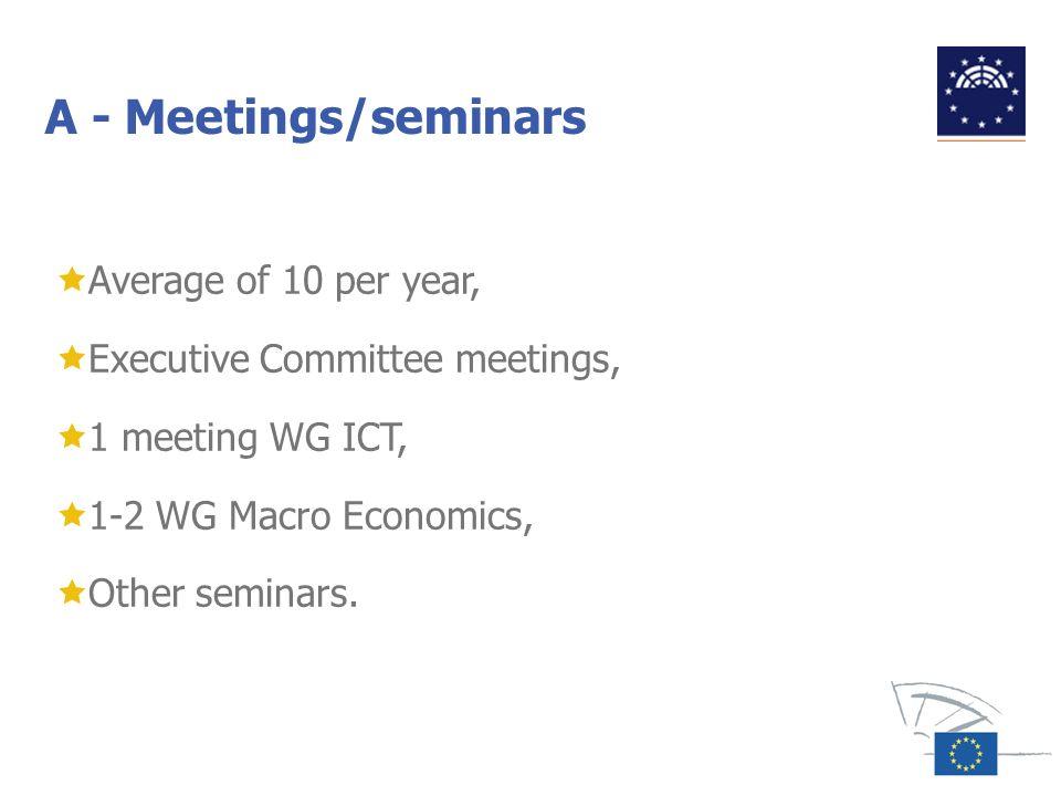 A - Meetings/seminars Average of 10 per year,