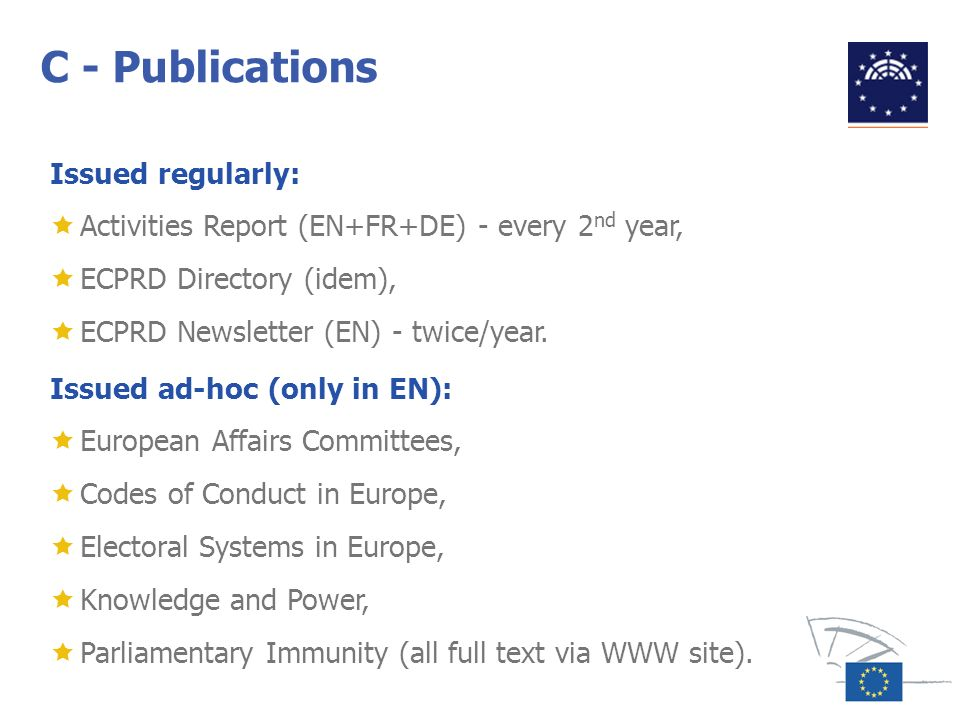 C - Publications Issued regularly: