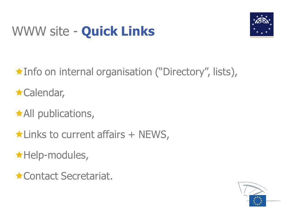 WWW site - Quick Links Info on internal organisation ( Directory , lists), Calendar, All publications,