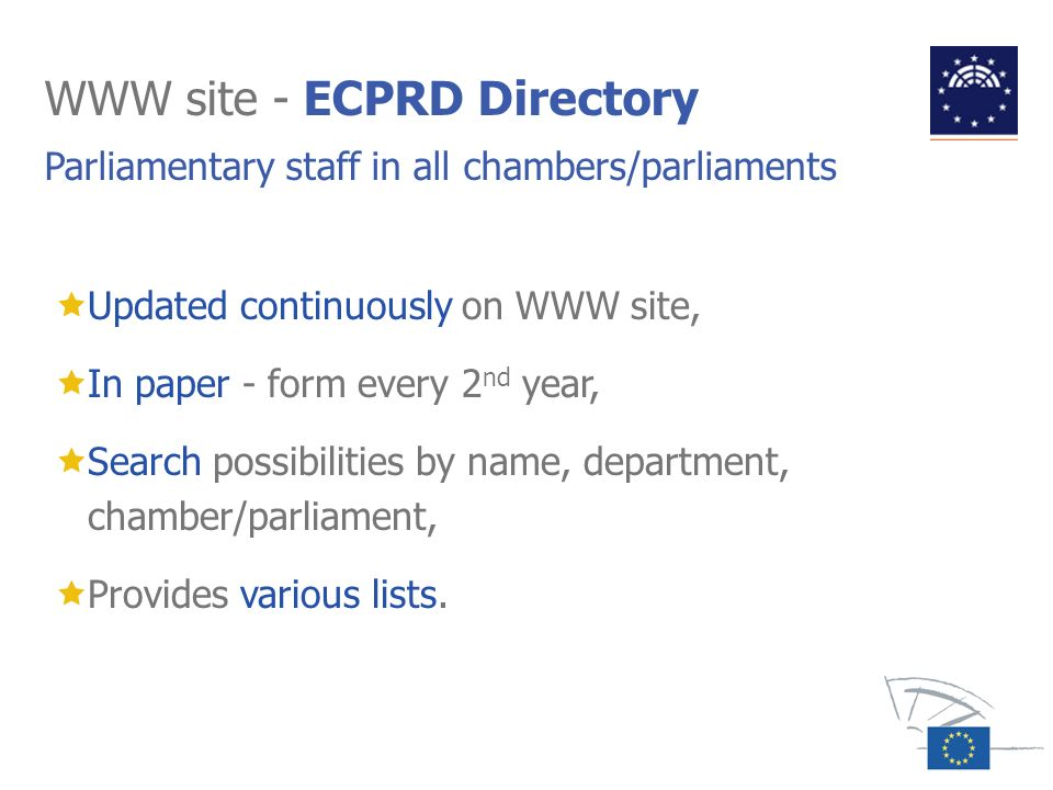 WWW site - ECPRD Directory